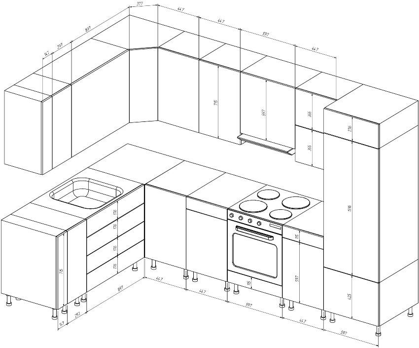 Для того чтобы кухонный гарнитур гармонично вписался в пространство следует составить его чертеж
