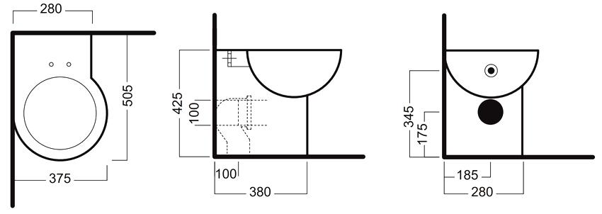 Размер углового унитаза выбирают исходя из ширины пространства, где планируется монтаж прибора