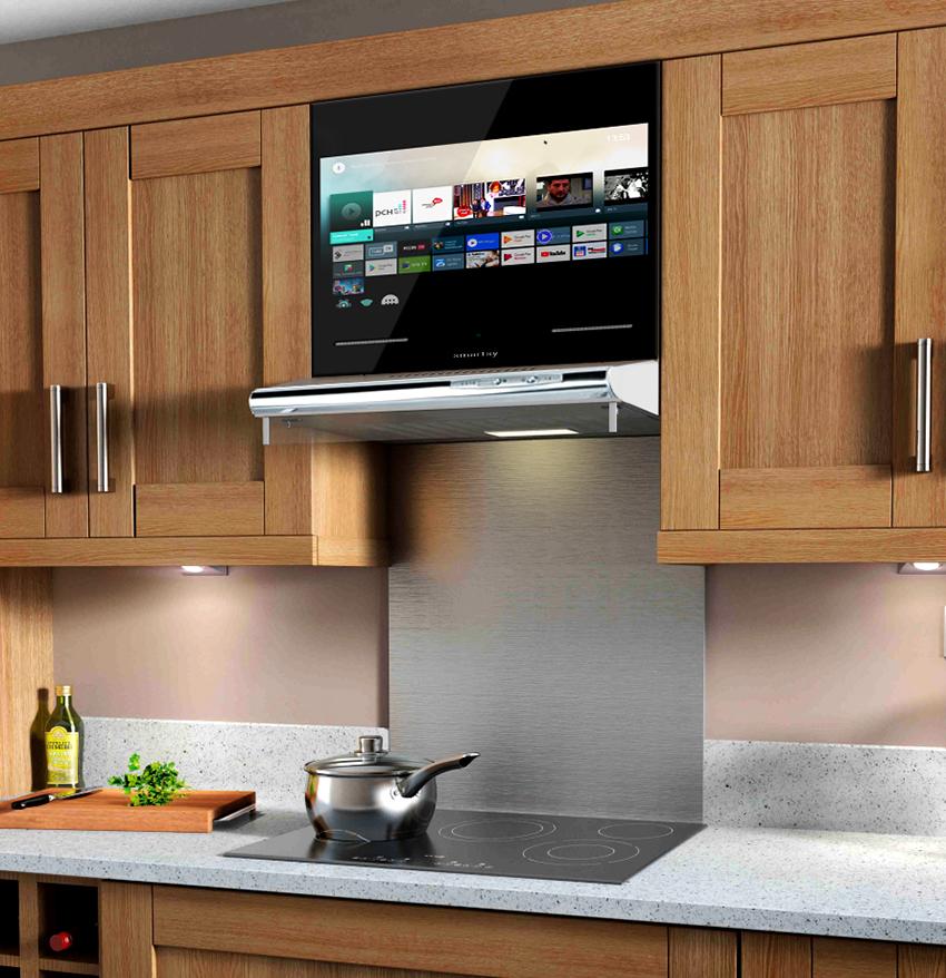 Телевизор встроенный в фасад кухни – удобный и популярный вариант