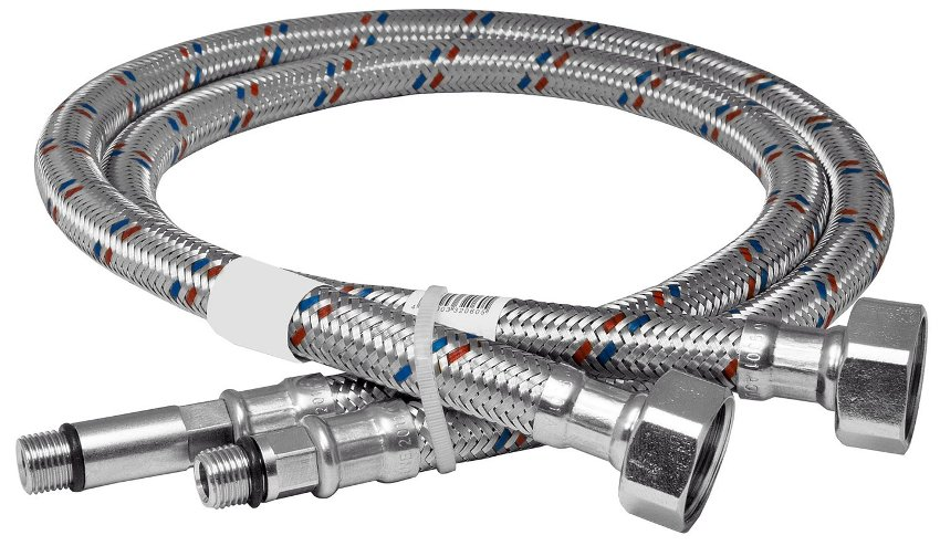 Гибкая подводка – это резиновый шланг в металлической оплетке, оборудованный с обеих сторон коннекторами