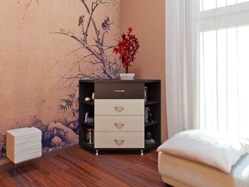 Угловые комоды для гостиной считаются идеальным решением, если помещение обладает небольшими размерами