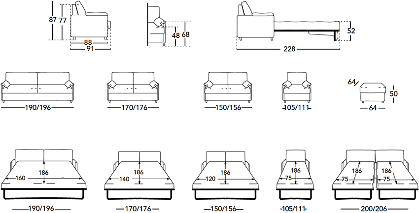 Стандартные размеры диванов в сложенном и разложенном состоянии