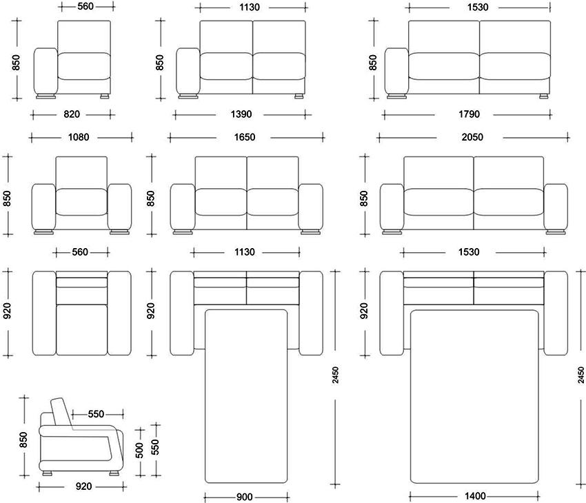 Стандартные размеры диванов с механизмом трансформации «Еврокнижка»