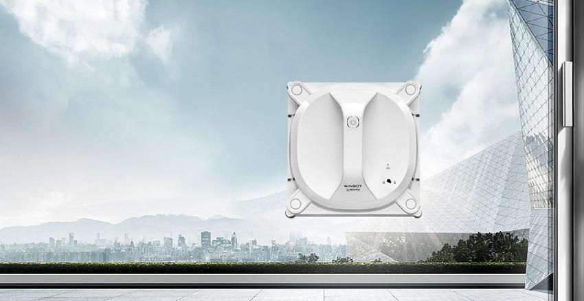 Агрегат Ecovacs Winbot 950 W определяет размер окна и сам выбирает траекторию уборки