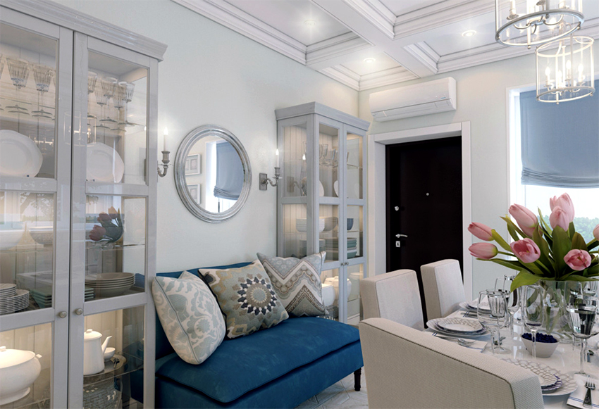 Шкаф-витрина подойдет для размещения не только посуды, но и декоративных предметов
