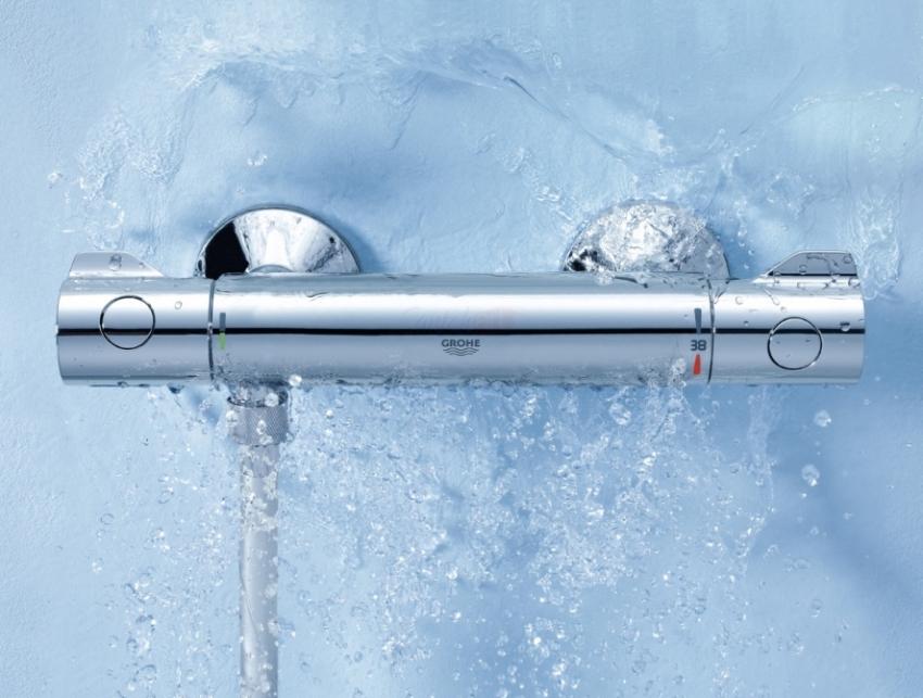 Термостатический смеситель поддерживает температуру воды в душе на заданном уровне на всем протяжении купания