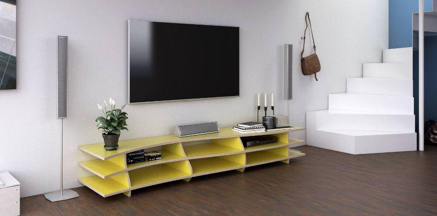 Этажерка под телевизор всегда имеет открытый тип полок