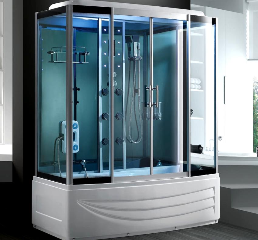 Душ с гидромассажем перед ванной имеет такие преимущества: уменьшенные габариты, безопасность, многофункциональность, экономия ресурсов