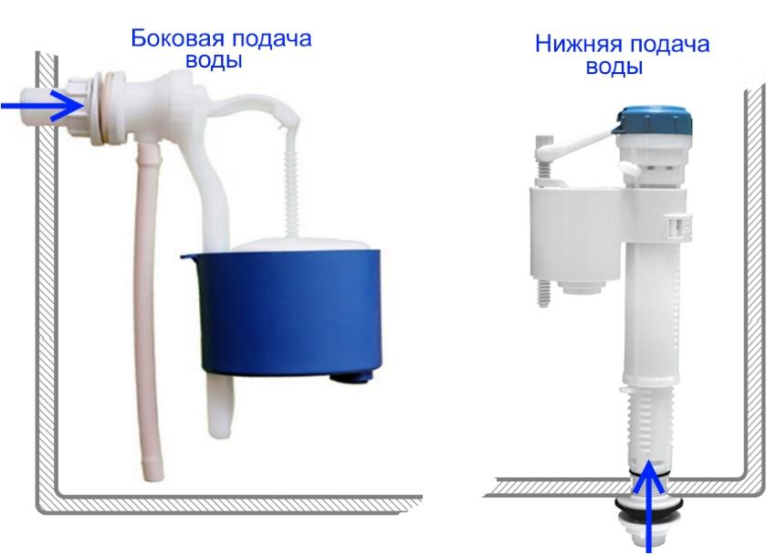 Арматура для унитаза может быть для боковой или нижней подачи воды