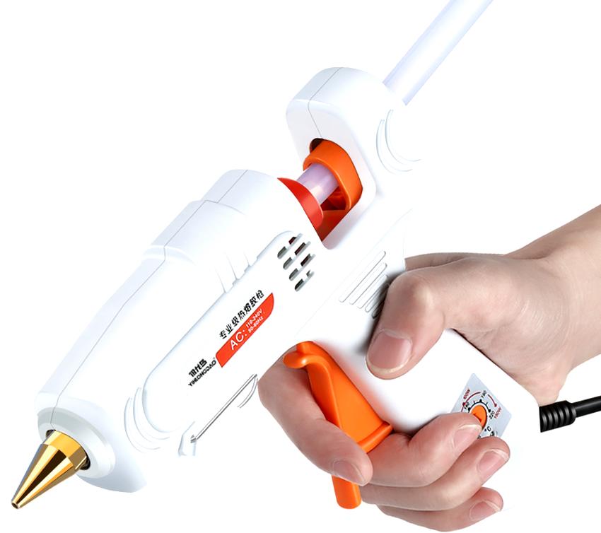 Нужно обратить внимание на температурный регулятор, если на нем установлено более трех режимов, то это универсальный клеевой пистолет