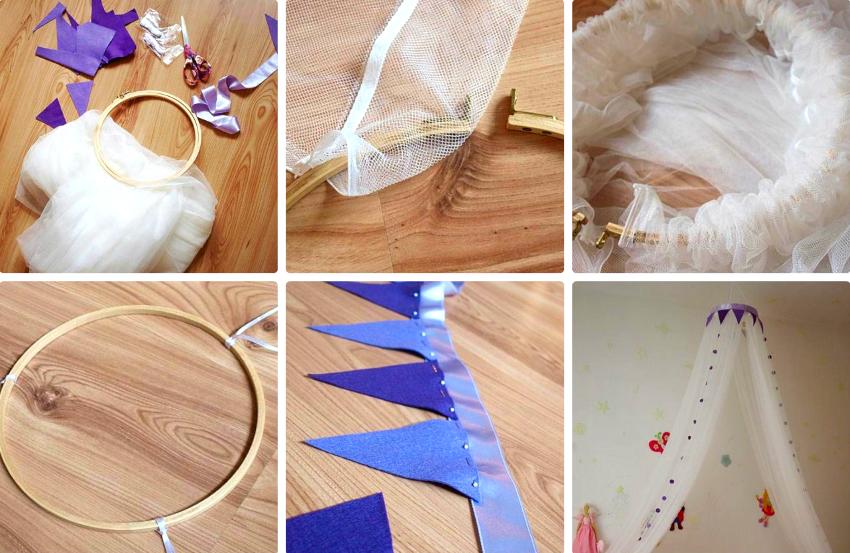 Верхняя часть балдахина декорируется лентой, боковые стороны украшают оборками или кружевом