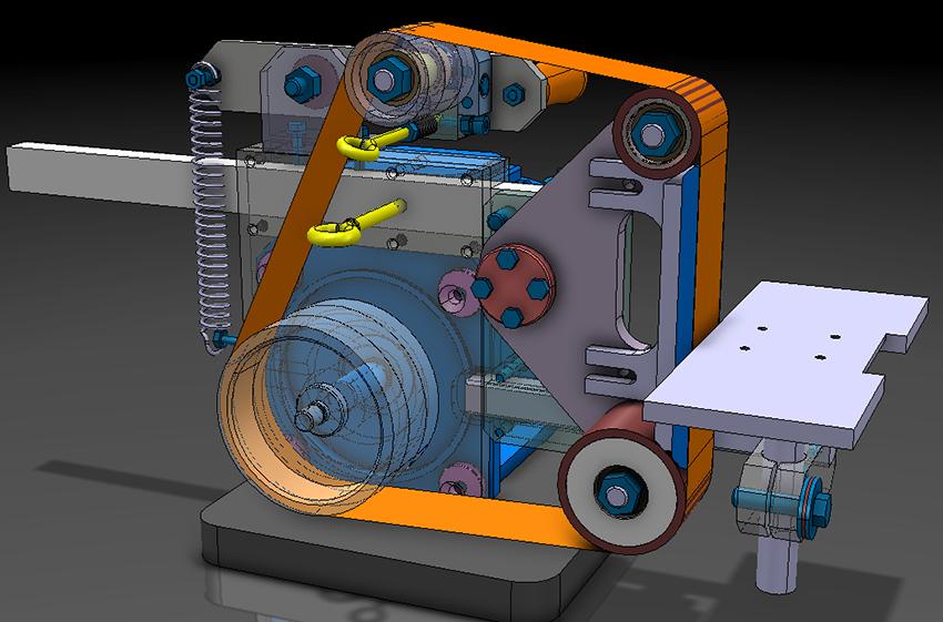 Стандартный гриндер состоит из устройства для натяжения ленты, роликов, рамы, упора и прижимной площадки