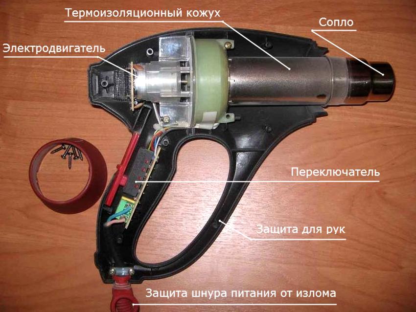 Некоторые детали можно взять из старого фена, например, вентилятор