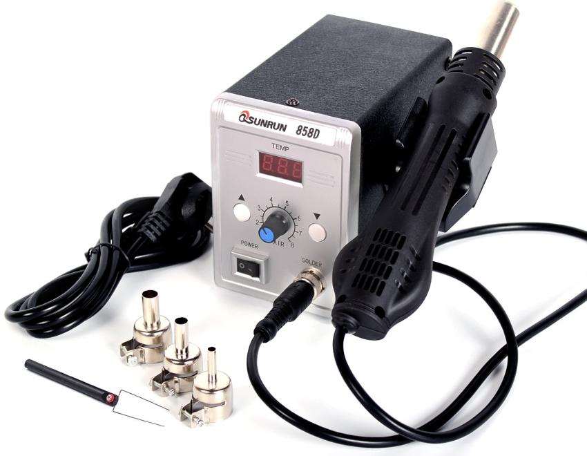 Паяльная установка с феном Qsunrun 858D отличается наиболее выгодной стоимостью