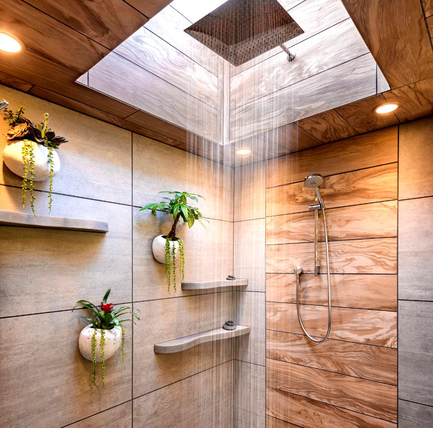 Тропический душ – это не просто средство для гигиенических процедур, также он занимает важное место в интерьере ванной комнаты
