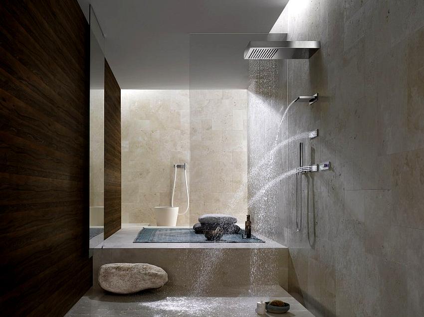 Смеситель для ванной с лейкой «тропический душ» может быть с керамическим или шариковым картриджем, с изливом и термостатом