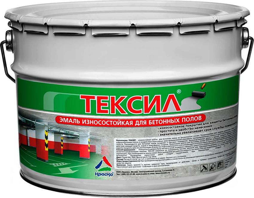 Краски для бетонных полов «Тексил» отличаются стойкостью к механическим повреждениям