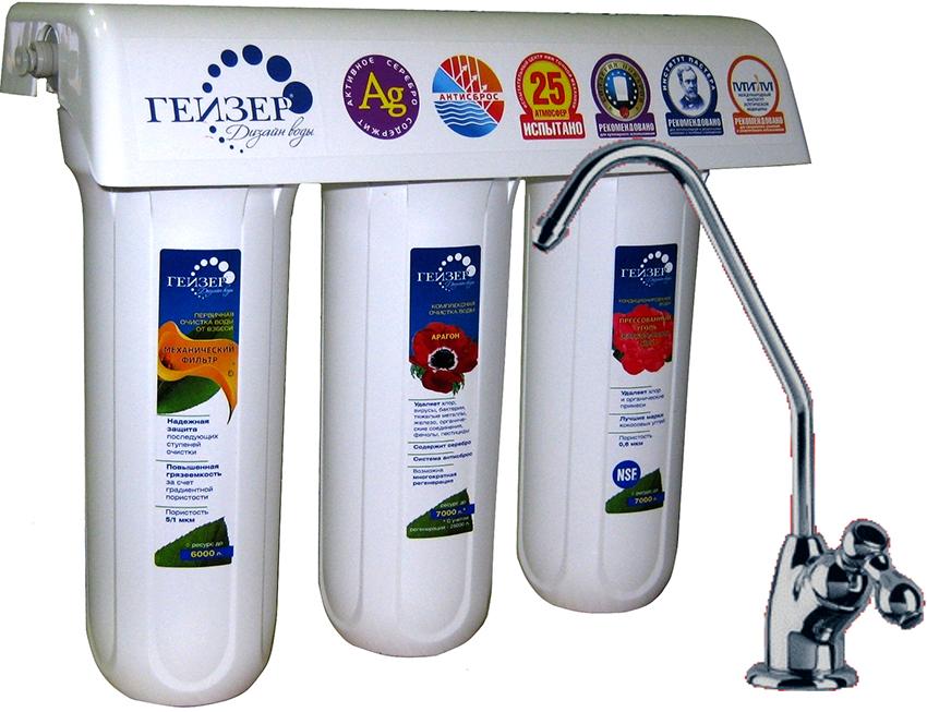 Магистральные фильтры от бренда «Гейзер» бывают для горячей и холодной воды