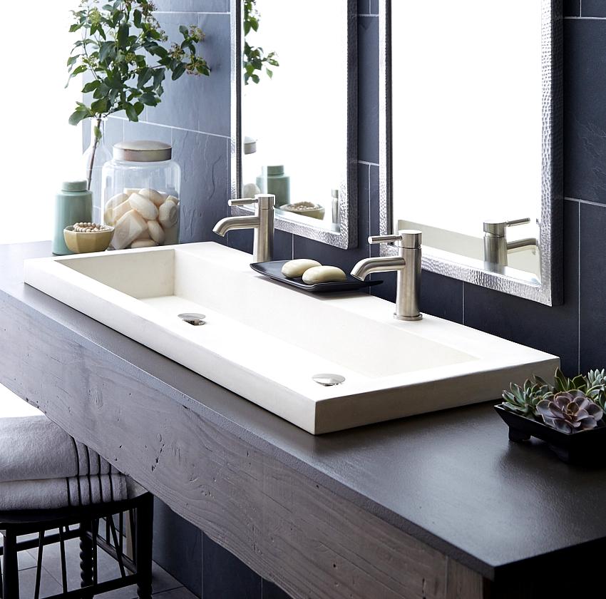 Раковина встроенная в столешницу является отличным элементом интерьера