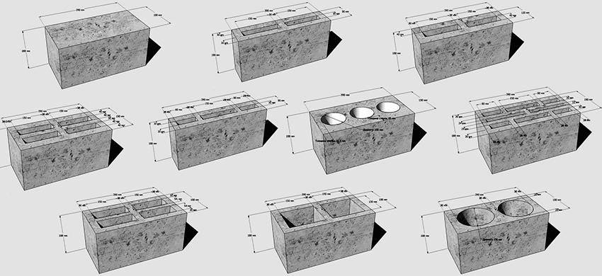 Стандартные размеры шлакоблоков всех разновидностей