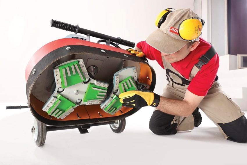 Существуют специальные машинки для шлифовки бетонного пола