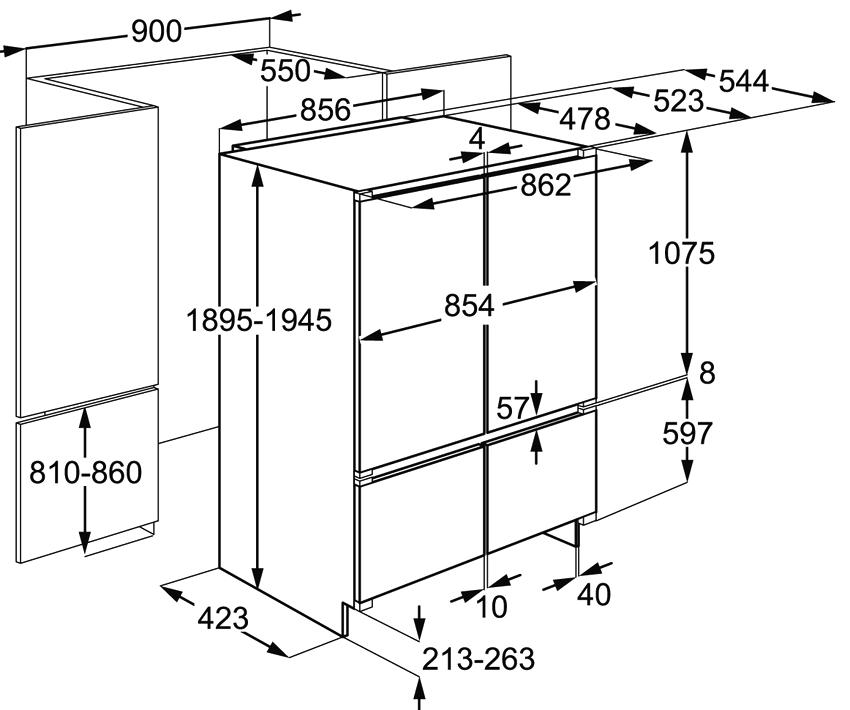 Холодильники side-by-side имеют стандартные размеры высоты и глубины, но значительно отличаются шириной