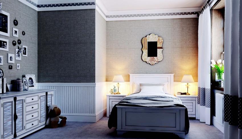 Если комната большая и потолок высокий, ограничивать размеры багет нет необходимости