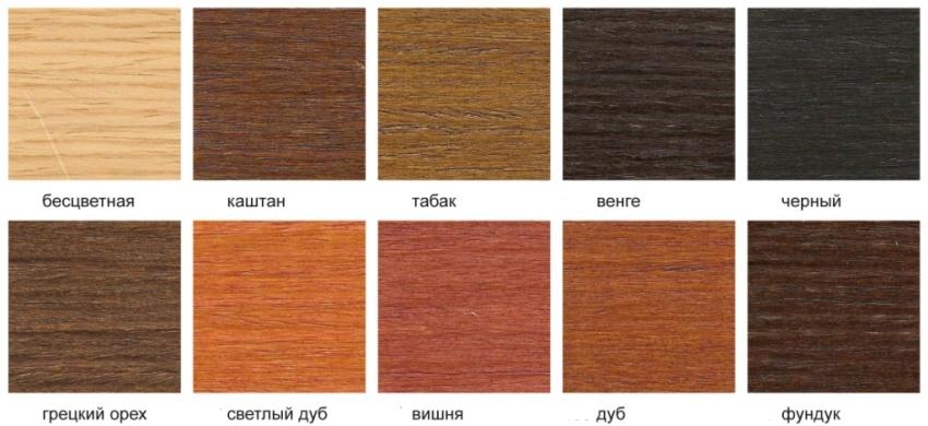Широкая цветовая гамма современных морилок может порадовать даже самых привередливых клиентов