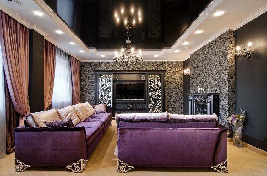 натяжной потолок с подсветкой по периметру представляет собой сочетание полотна и гипсокартонного каркаса, в каком спрятана подсветка