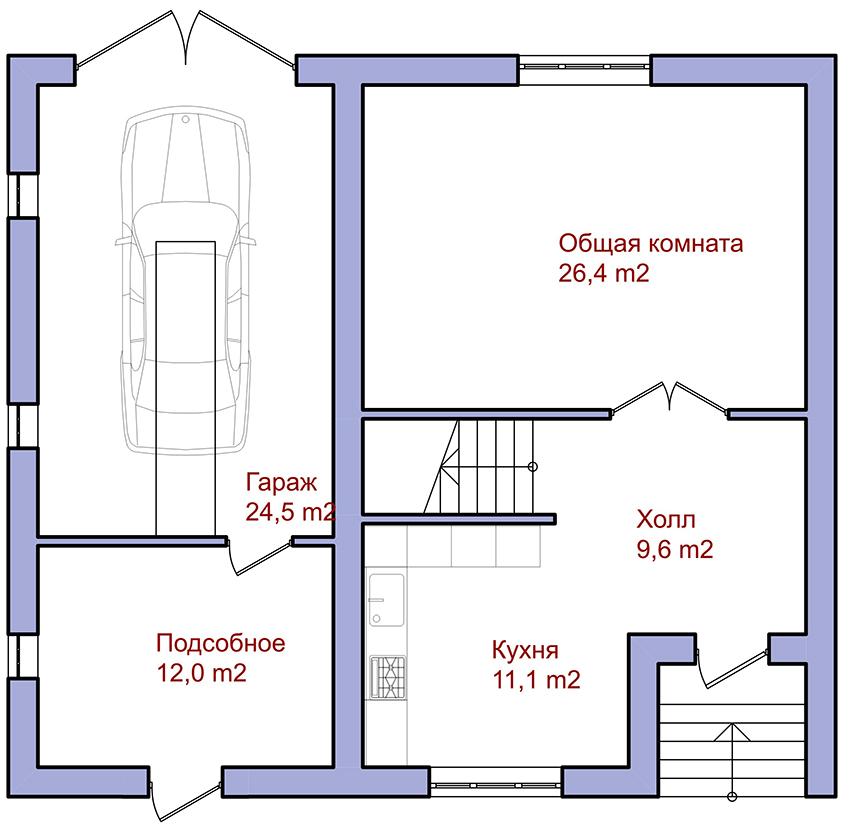 Одноэтажные дома размером 8х10 м с гаражом имеют много преимуществ