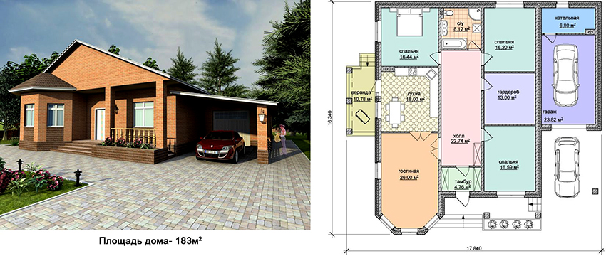 Проект одноэтажного прямоугольного дома площадью 183 м² с гаражом
