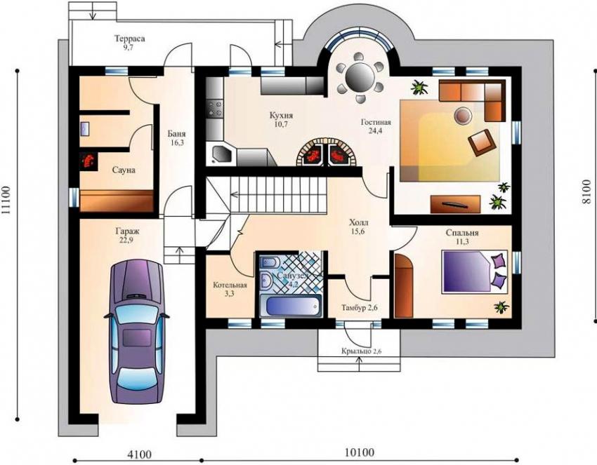 Проект одноэтажного дома с баней и гаражом для одного автомобиля