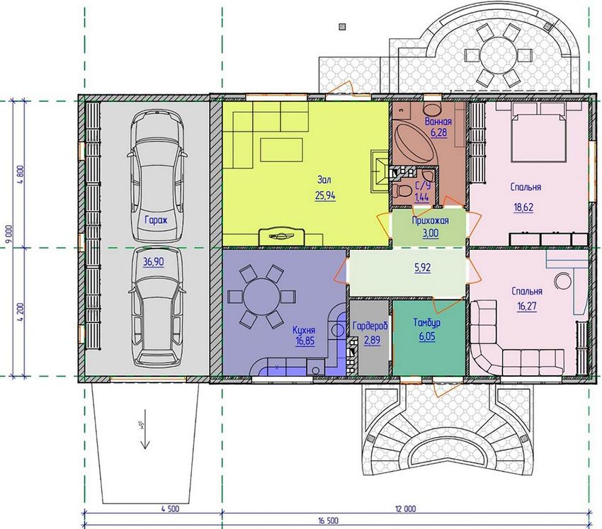 Проект одноэтажного дома с гаражом, рассчитанным на два автомобиля