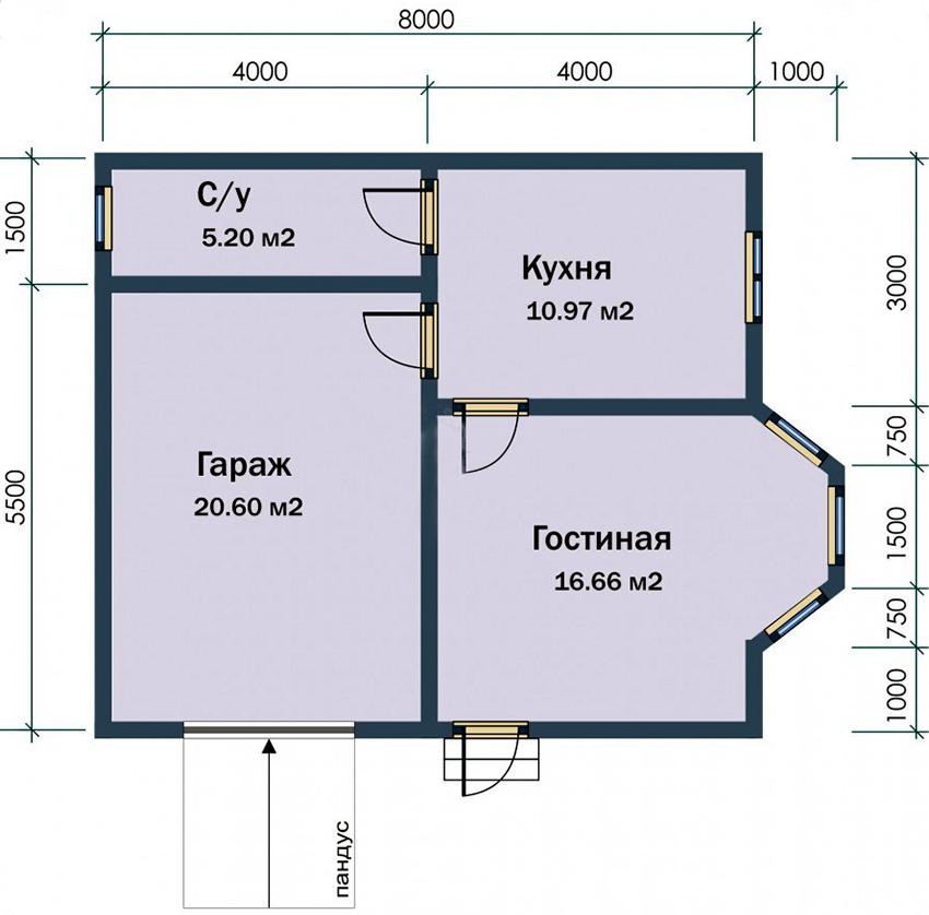 Проект небольшого одноэтажного дома с гаражом размером 8х8 метров