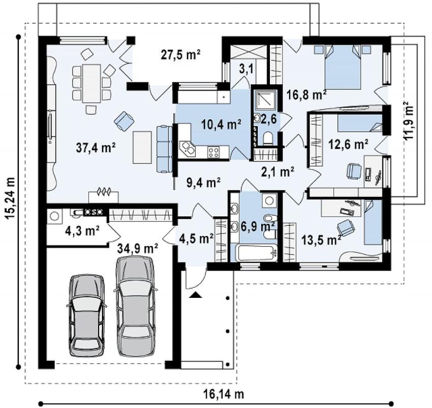 Проект одноэтажного дома из кирпича с гаражом на два авто
