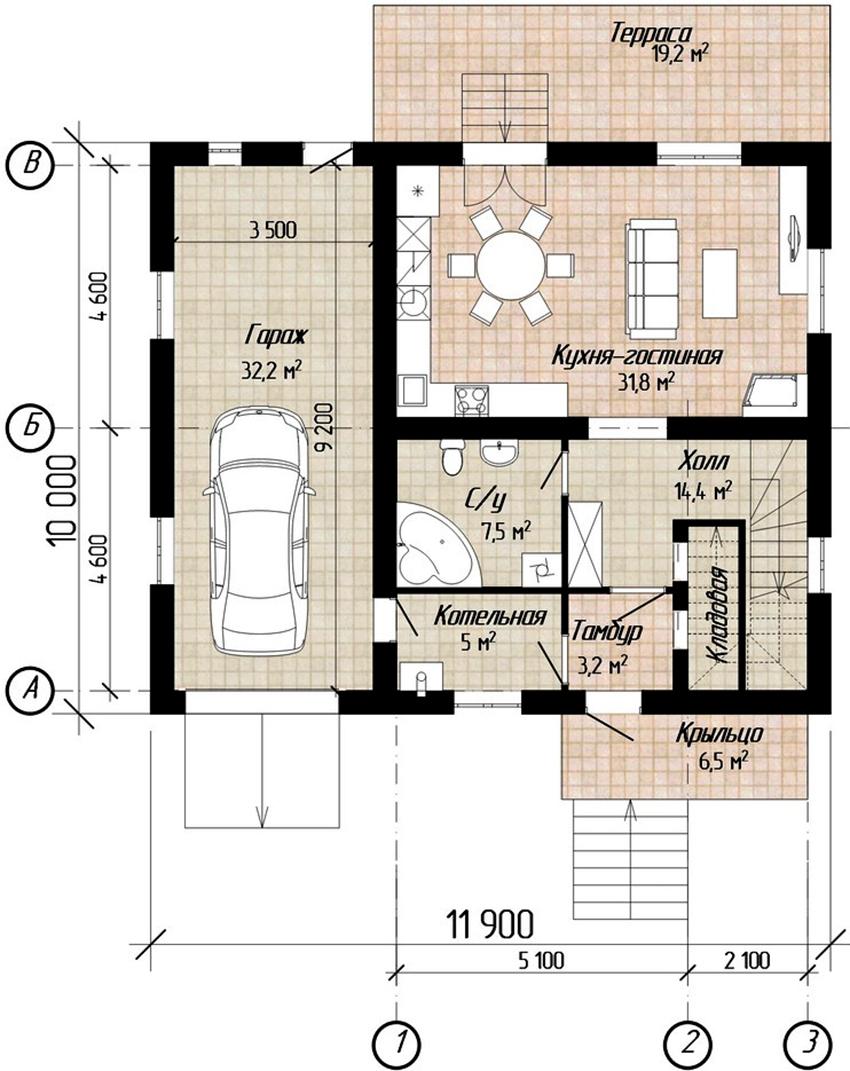 Проект одноэтажного дома размером 10х12 метров с гаражом для автомобиля
