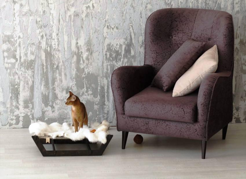 Спальное место для кошки должно быть выполнено в стиле, соответствующем всему интерьеру