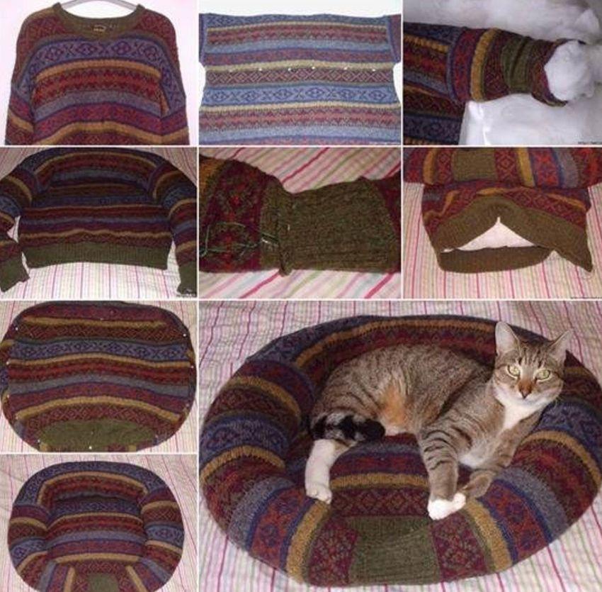 Пошаговая инструкция как сшить для кота лежанку из свитера в форме ватрушки