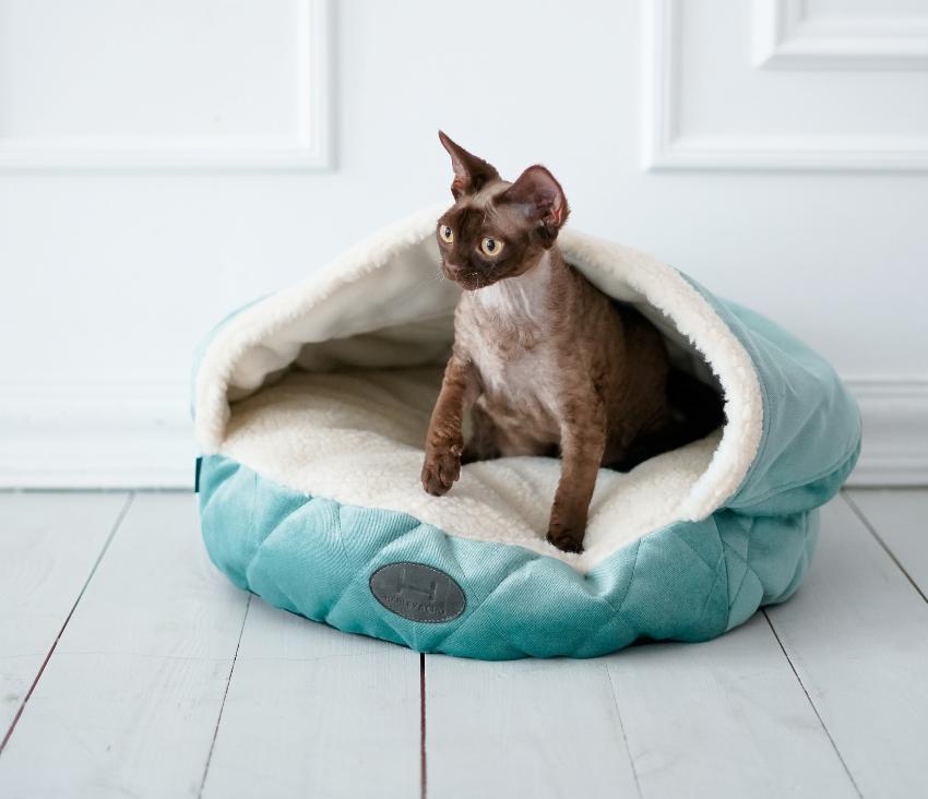 Популярностью пользуются лежанки для кота в виде полудомиков, которые имеют боковые стенки и крышу