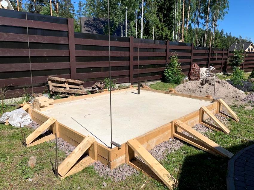 Если планируется возвести массивную кирпичную жаровню, для заливки фундамента лучше использовать цемент марки М400 или М500