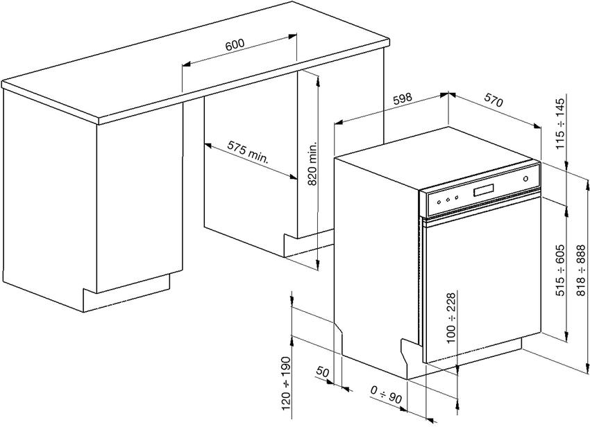 Оптимальные размеры для установки посудомоечных машин: высота – 82 см, ширина – 60 см, глубина – 58 см