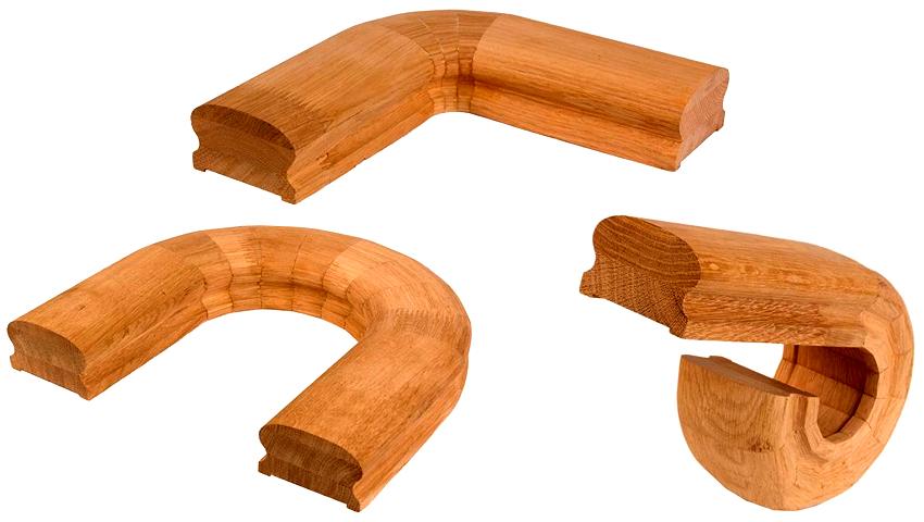 Поручни закругленных форм изготавливают способом склеивания нескольких элементов