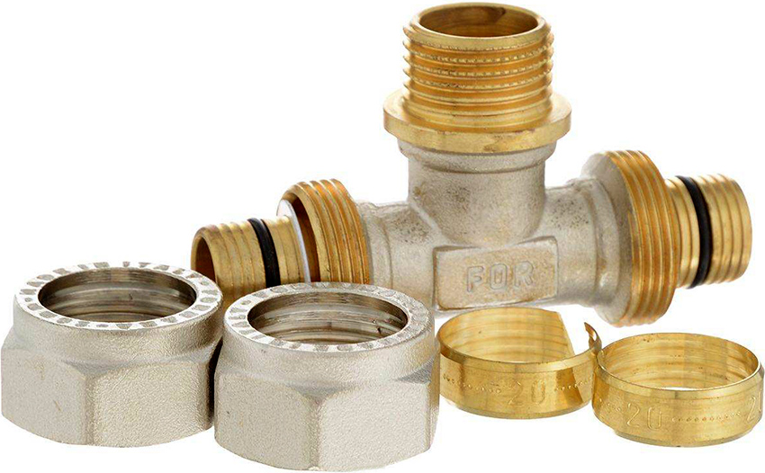 Компрессионные фитинги применяют для соединения труб с одинаковыми диаметрами