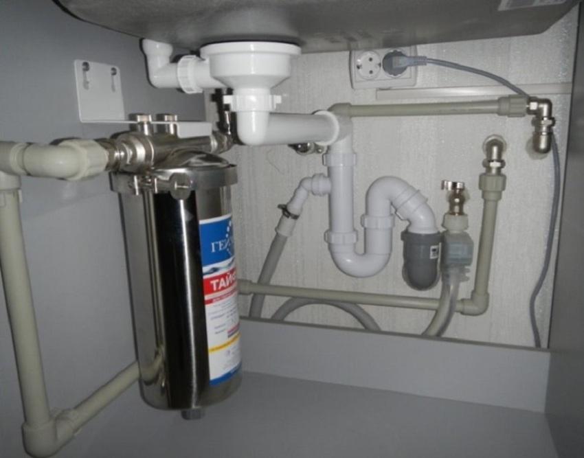 Если наблюдается недостаток места для подключения машины, то прокладка осуществляется внутри шкафа