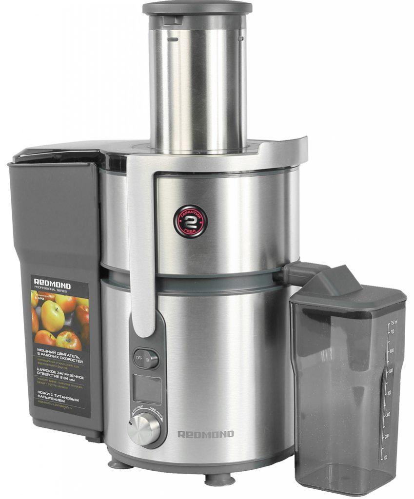 Соковыжималка Redmond RJ-M908 перерабатывает любые типы продуктов