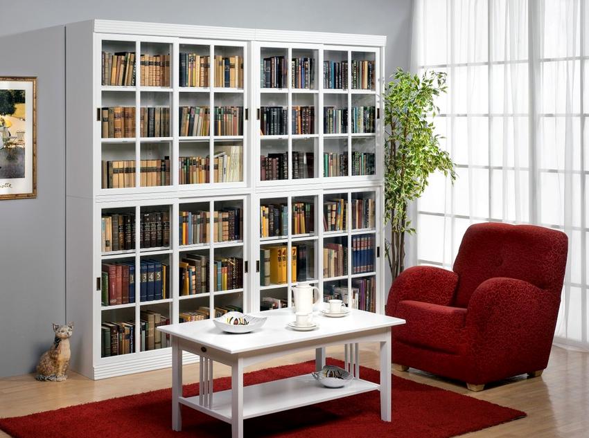 Шкаф для книг со стеклом в белом цвете способен добавить помещению изысканности и оригинальности