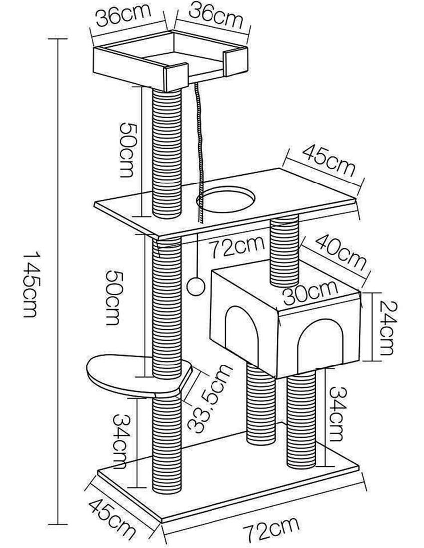 Чертеж многоярусной конструкции с когтеточкой, домиком и площадкой для игр