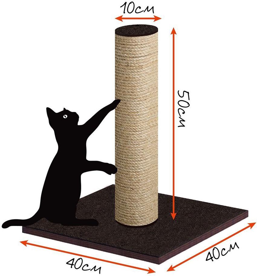 Схема простой когтеточки для кошек с размерами