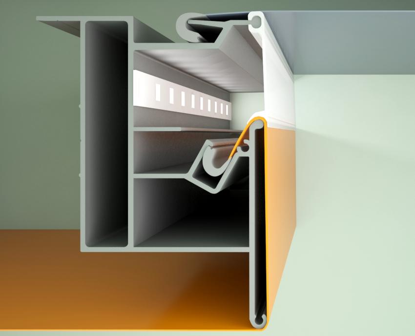 Наиболее распространенным способом крепления натяжного потолка считается гарпунная технология