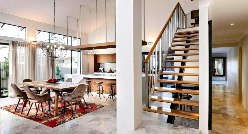 Материал для поручней подбирается в зависимости от назначения, расположения и особенностей использования лестницы